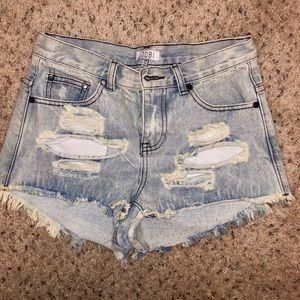 ‼️SALE‼️High-Waisted Light Wash Ripped Jean Shorts